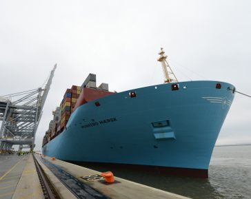 Maersk Triple-E vessel breaks record for largest ship to sail on River Thames